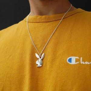 BRAND NEW Playboy Silver stainless steel necklace